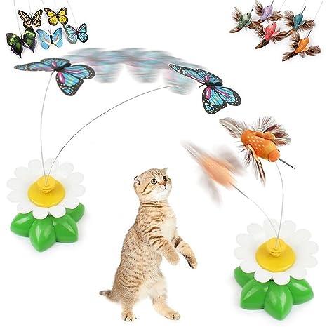 Anano - Juguetes interactivos para gatos con diseño de mariposas y pájaros, con mariposa giratoria