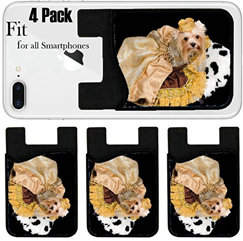 - Liili Phone Card holder sleeve/wallet for iPhone Samsung Android and all smartphones with removable microfiber screen cleaner Silicone card Caddy(4 Pack) Yorkshire terrier with beautiful dress agains