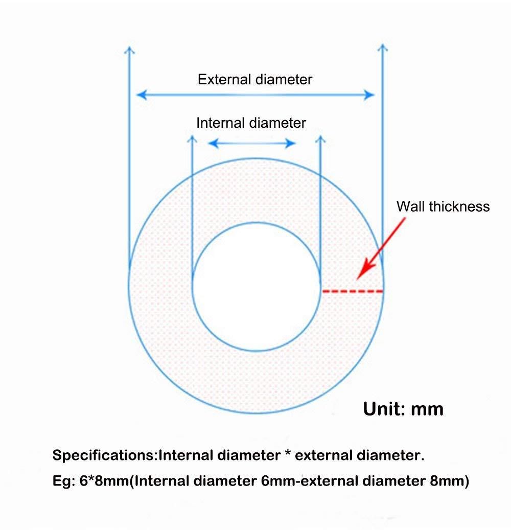 Ten-high Coque en silicone Tube 1m 8x12mm diff/érents diam/ètres et /Épaisseur de paroi Interne et externe Tuyau flexible silicone Tuyau Tube 1/metre//2/metre//5/metre//10/metre//50/metre//100meter