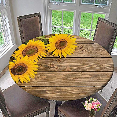 Mikihome Circular Table Cover Sunflower Three Sun on The Wooden Background at Left top Cornerative Print Baige Yellow for Wedding/Banquet 47.5