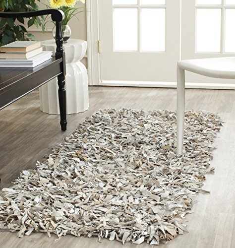 Leather Shag Rug - Safavieh Leather Shag Collection LSG511C Hand Woven White Leather Area Rug (4' x 6')
