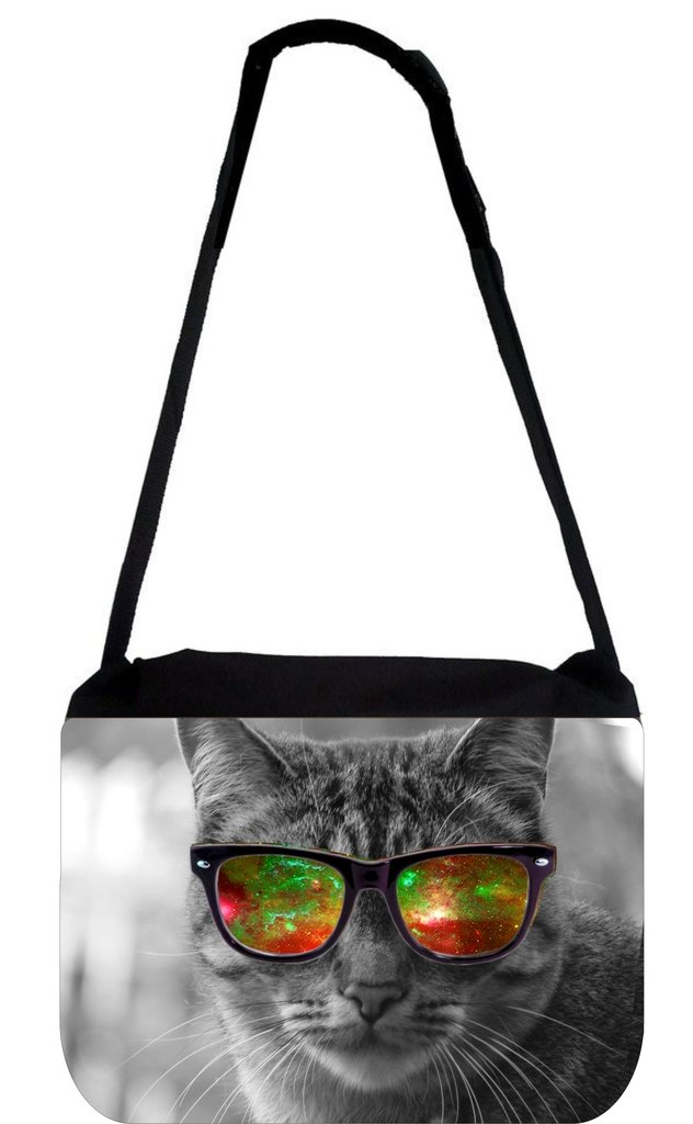 Grey Kitten with Red and Green Galaxy Glasses - TM Messenger Bag 11.75'' x 15.5''