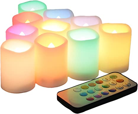 3 PACK LARGE LED FLAMELESS CHOCOLATE REAL WAX MOOD CANDLES REMOTE CONTROL