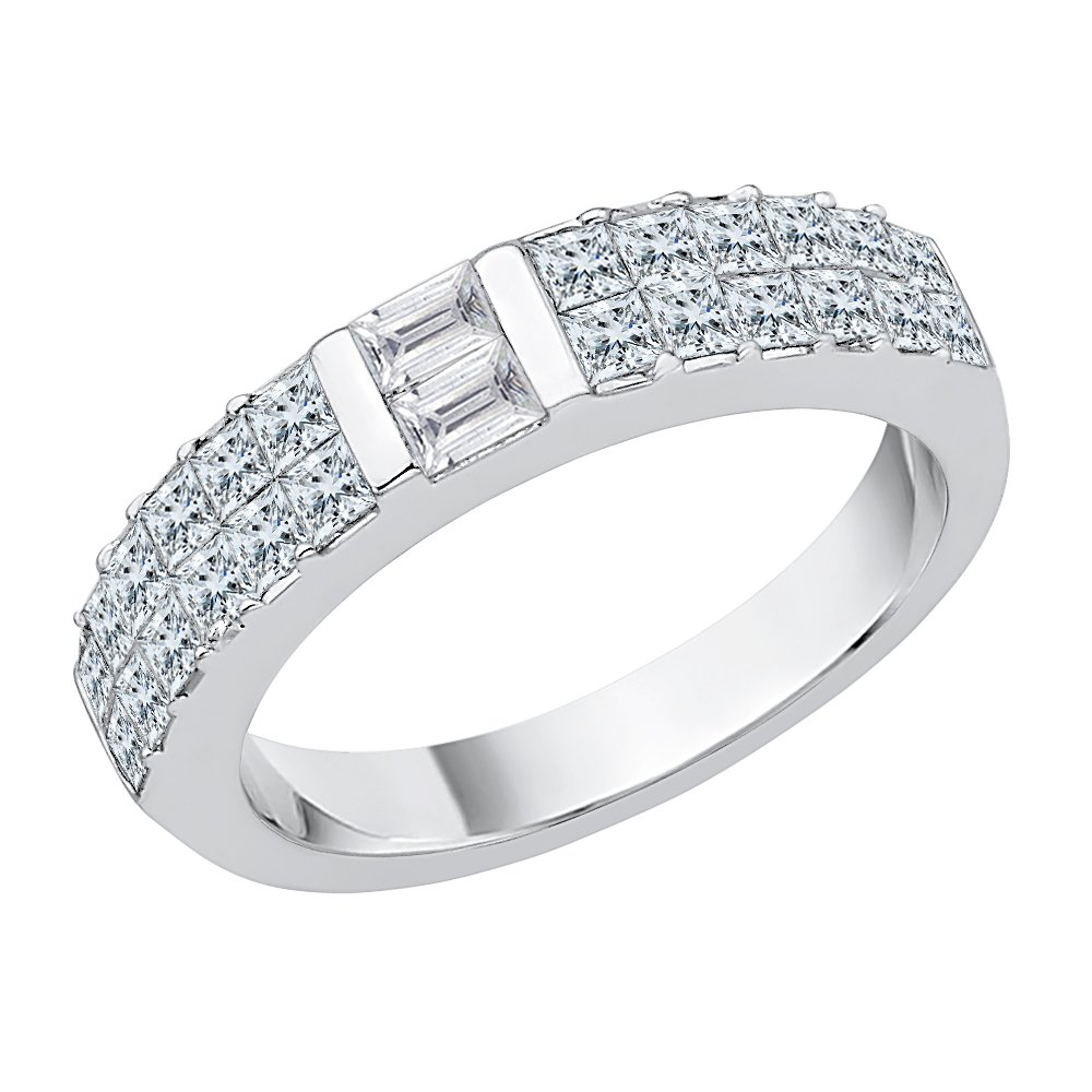 Princess and Baguette Cut Diamond Anniversary Ring in Sterling Silver (7/8 cttw) (GH Color, I2-I3 Clarity) (Size-12)
