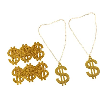 Gold Bling 3 US Dollar Signs Ring Costume Rapper Big Daddy Pimp Fancy Dress