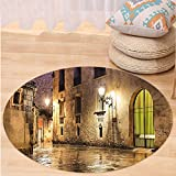 Kisscase Custom carpetGothic Decor Gothic Ancient Stone Quarter of Barcelona Spain Renaissance Heritage Gothic Night Street Photo Bedroom Living Room Dorm Decor Cream