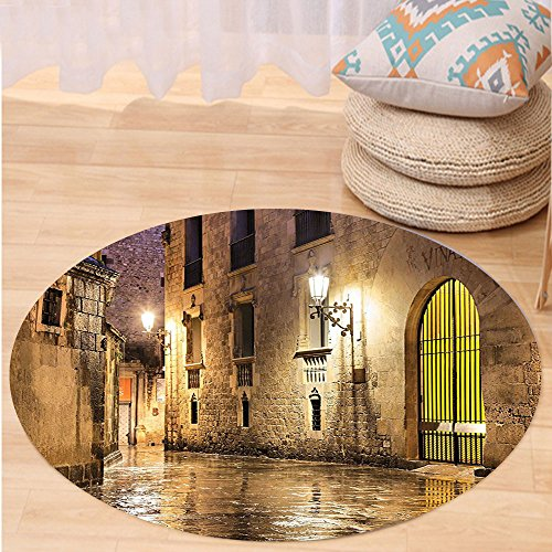 Kisscase Custom carpetGothic Decor Gothic Ancient Stone Quarter of Barcelona Spain Renaissance Heritage Gothic Night Street Photo Bedroom Living Room Dorm Decor Cream by kisscase