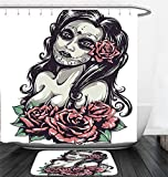 Nalahome Bath Suit: Showercurtain Bathrug Bathtowel Handtowel Girly Decor Collection Dead Sexy Girl with Roses Mexican Sugar Skull Makeup Aztec Culture Goddess Zombie Concept Black Pink
