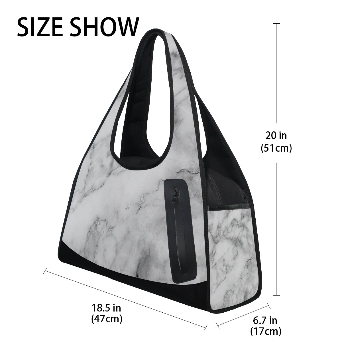 AHOMY Canvas Sports Gym Bag Marble Pattern Travel Shoulder Bag