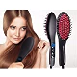 Seven Beauty Professional Ceramic Electric Hair Straightener Brush with Temperature Control and Digital Display for Women (Black)