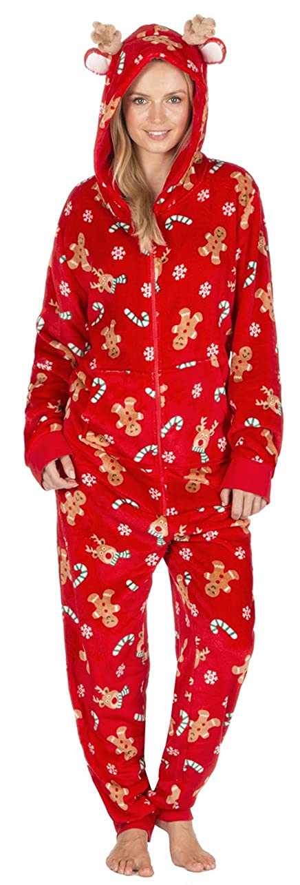 ONEZEE Ladies Mens Unisex Novelty Xmas Onesie Fleece All In One SuperSoft Warm Hooded Red Navy Blue