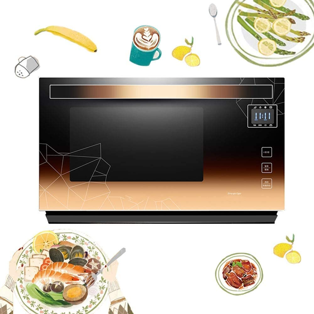 900W 23L Solo Microwave Oven with HD Touch Screen, Light Wave Barbecue Full Pull-down Door Intelligent Frequency Conversion Oven, Low Volume and Low Power Consumption