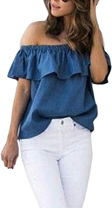 Camisas Elegante Moda Mujer Tops Verano Color Sólido Manga ...