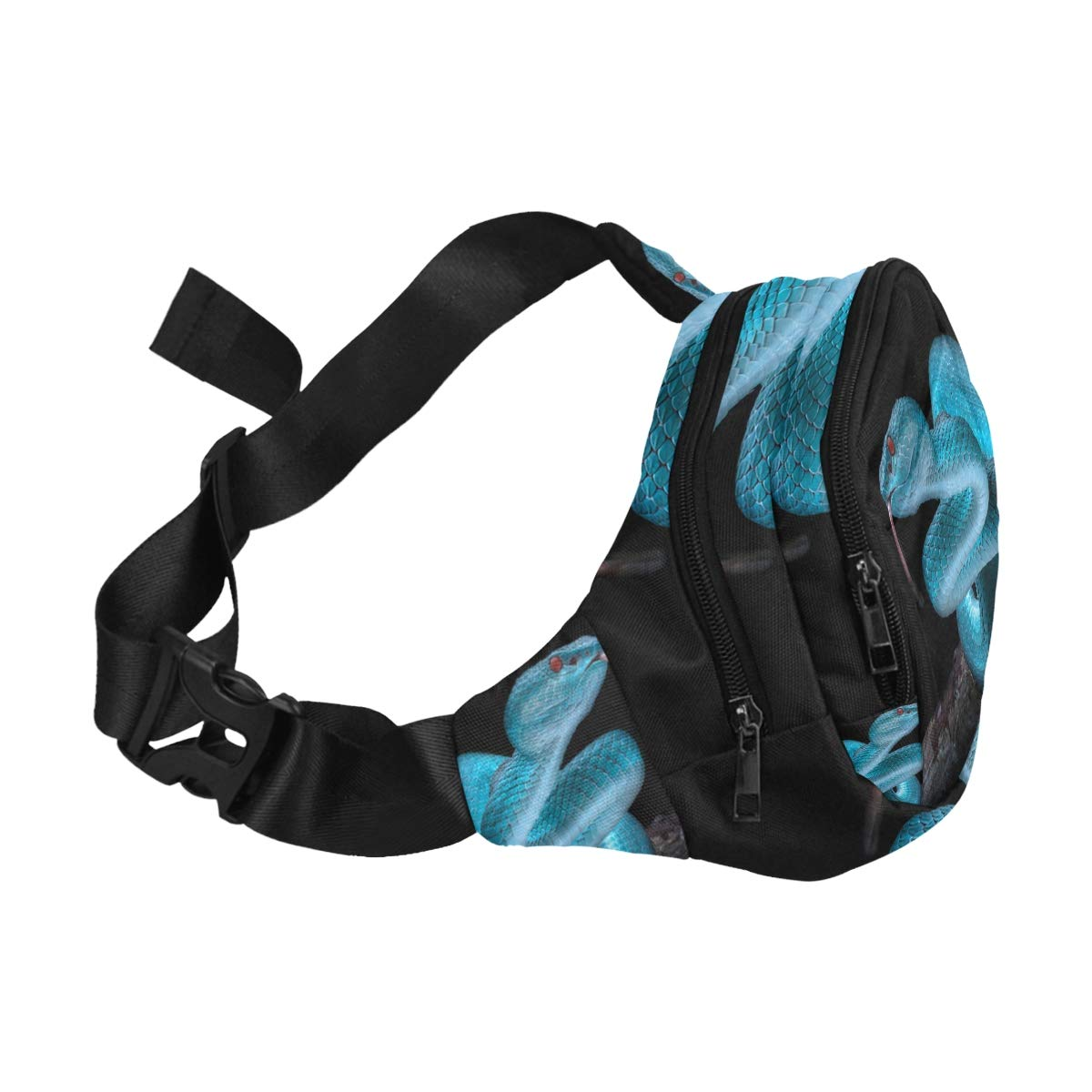 A Fierce Cold-blooded Snake Fenny Packs Waist Bags Adjustable Belt Waterproof Nylon Travel Running Sport Vacation Party For Men Women Boys Girls Kids