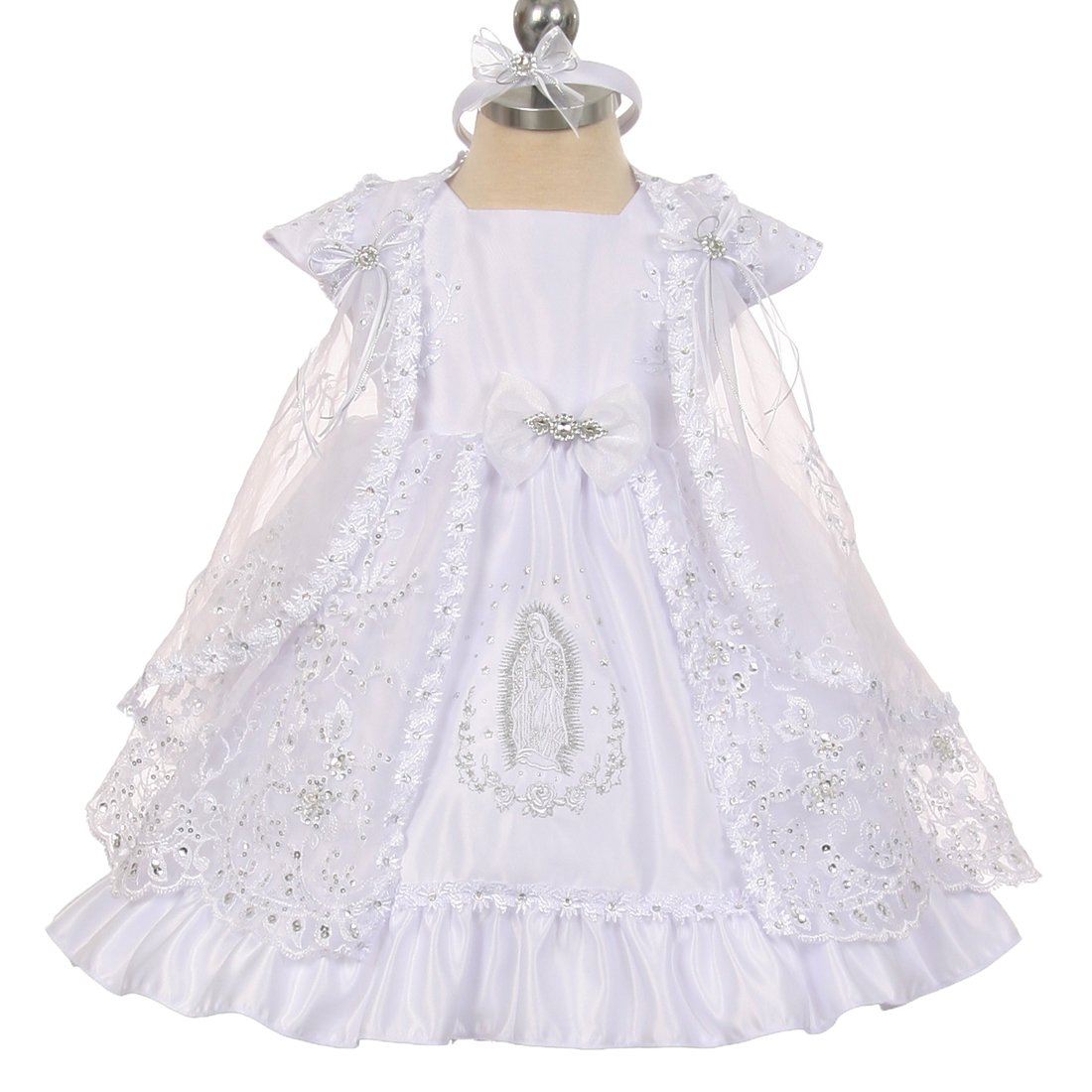 Rainkids Baby Girls White Virgin Mary Embroidery Cape Baptism Dress 0-24M The Rain Kids