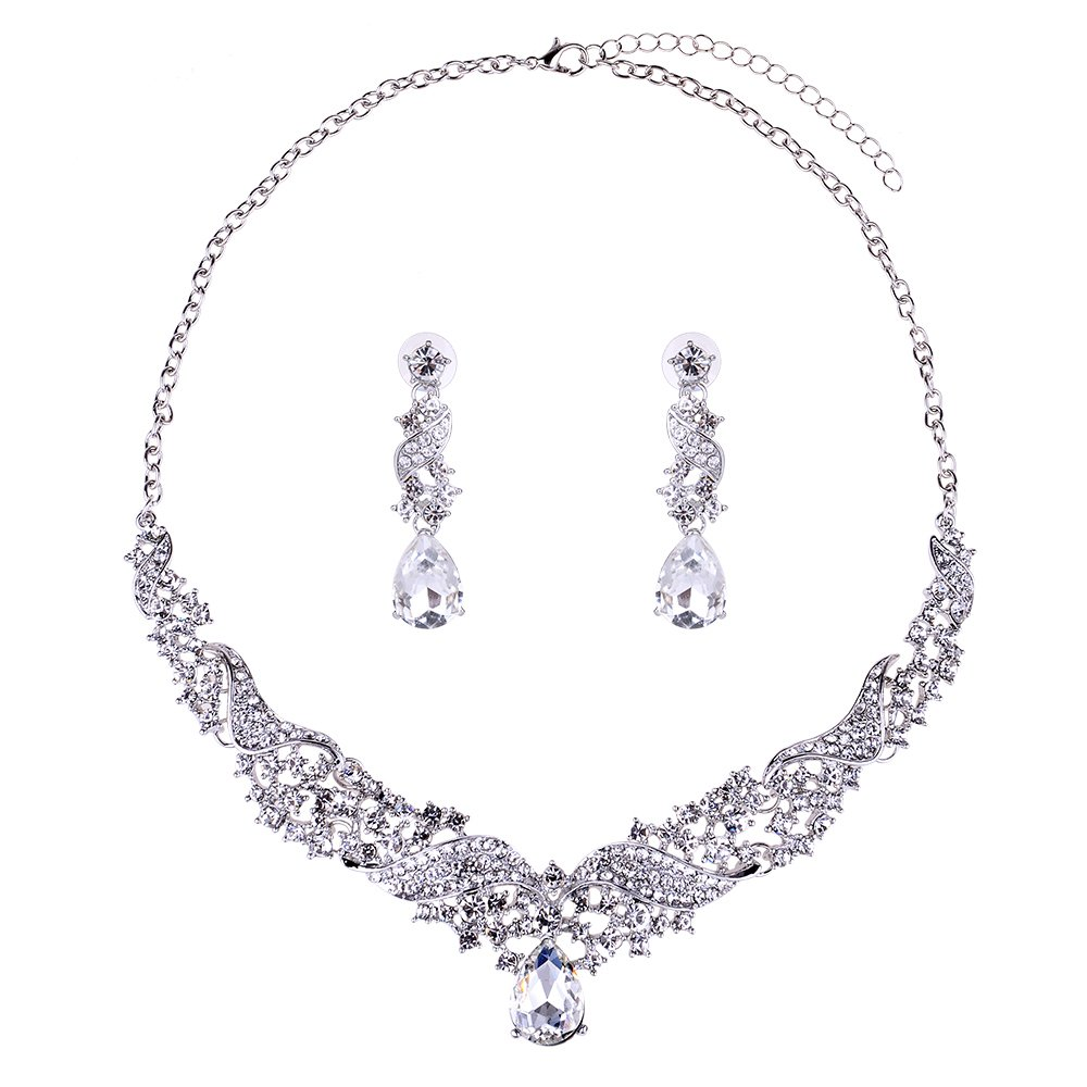 Wedding Bridal Teardrop Crystal Jewelry Sets for Women (1 Set Earrings,1 PCS Necklace)