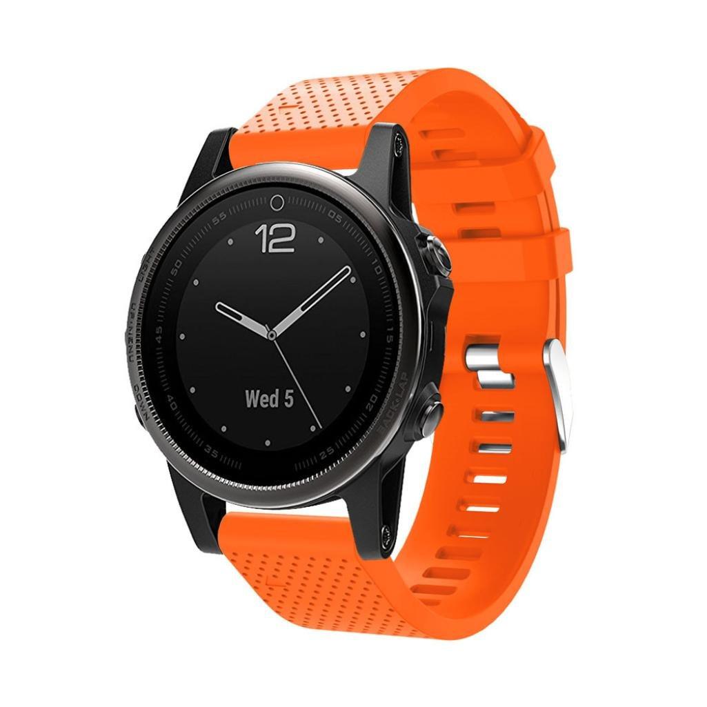 For Garmin Fenix 5sバンド20 mmクイックリリースソフトシリコン交換用for Garmin Fenix 5s時計バンド B07DGK66X4  オレンジ