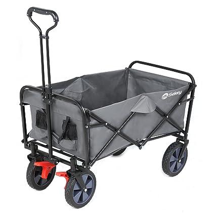 Sekey Faltbarer Bollerwagen mit Bremsen Klappbar Handwagen Transportkarre Gartenanhänger Gartenwagen Transportwagen bis 80KG,