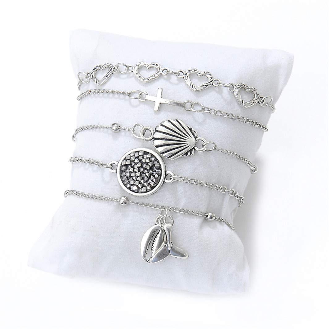 YouCY 5Pcs Heart Shape Cross Shell Fishtail Pendant Bracelet Hollow Love Diamond Pendant Bracelet Jewelry Party Xmas Gift For Women Girl