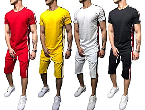8c0710d872 Men's 2 Piece Outfit Sport Set Spring Summer Casual O Neck Short Sleeve Tops  + Short