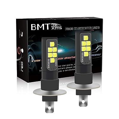 BMTxms Canbus Error Free LED Fog Lights, H1 Car Bulbs Auto Fog Light Foglight DRL Light Daytime Running Lights (2Pcs H1 12SMD, White): Automotive