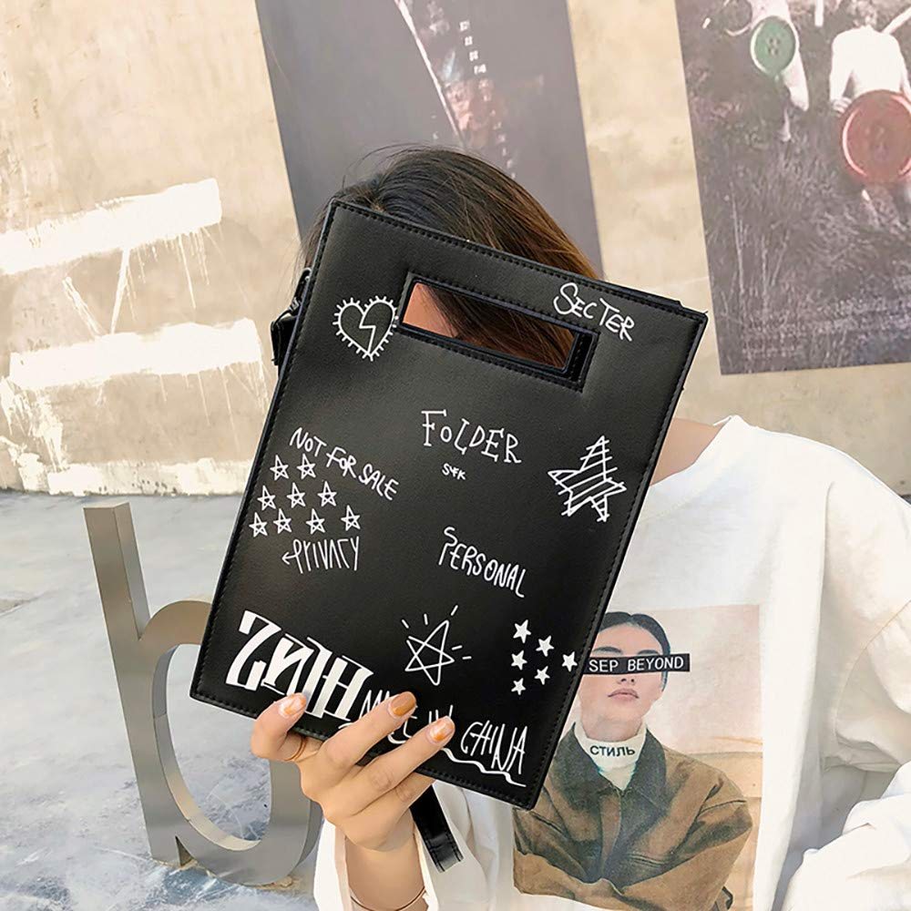 Dream Room Women Graffiti Port Wind Small Square Bag Ins Super Fire Fairy Messenger Bag Crossbody Bags Black
