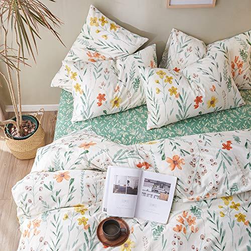 VM VOUGEMARKET Floral Duvet Cover Set Twin,Colorful Flower Printed Comforter Cover with Zipper Closure,Cotton Lightweight Garden Style Bedding Set for Teens Girls from VM VOUGEMARKET