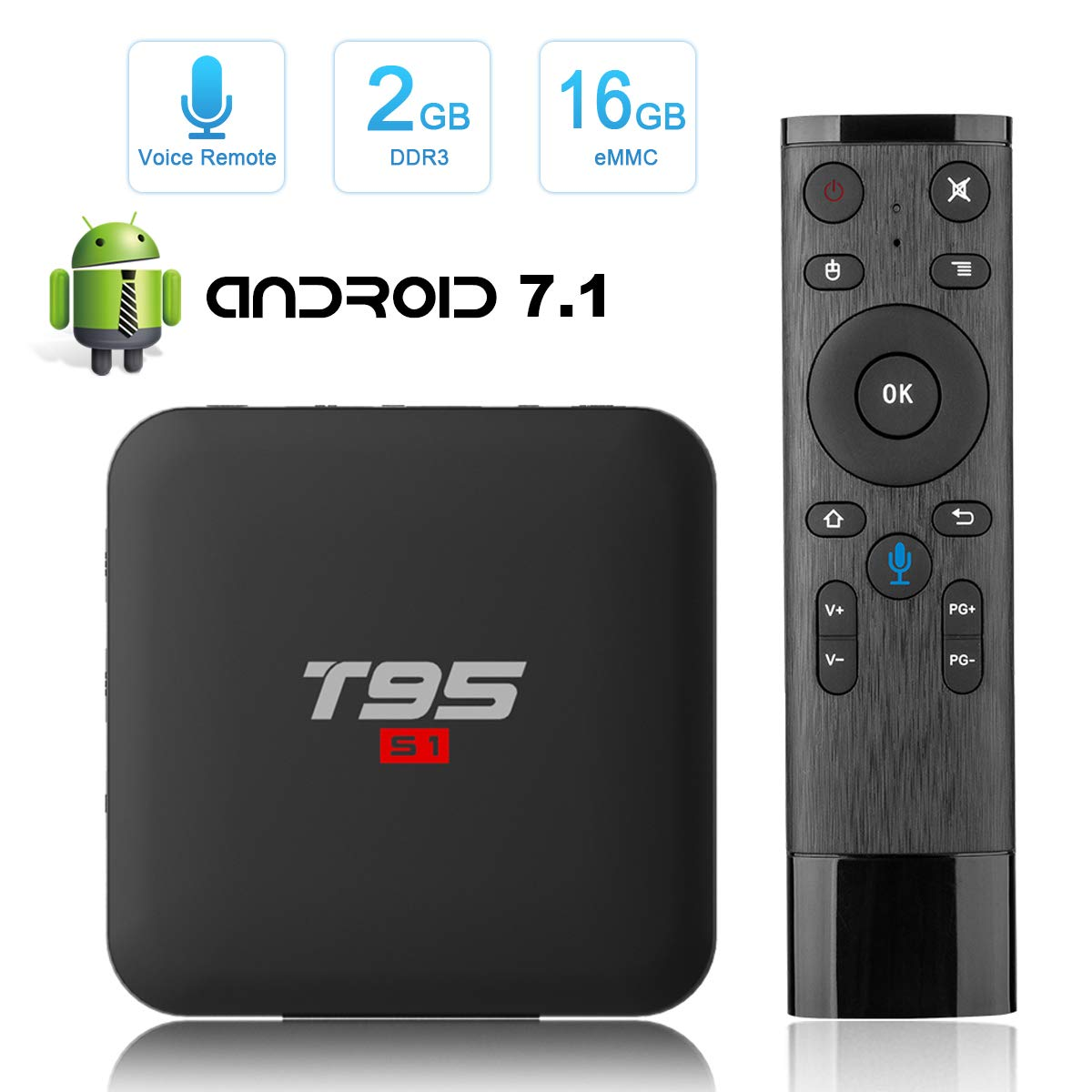 Android 7.1 TV Box, Tishow T95 S1 Smart Internet TV Box with 2GB RAM 16GB ROM, S905W Quad-core cortex-A53 WiFi Support H.265 4K Full HD with Remote Control