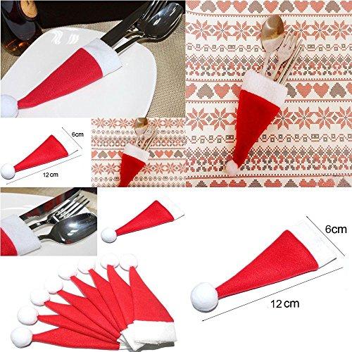 Dinner Fork Model - Miswilsi 10PCS/Set Red Santa Hat Dinner Cutlery Bag Christmas Hat Spoon Fork Bags Silverware