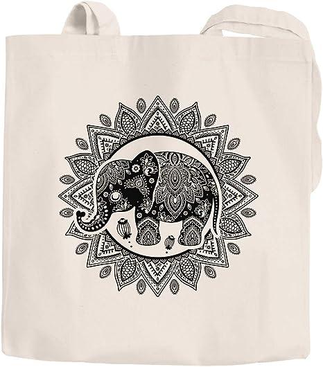 Yute bolsa elefante Mandala Boho bohamian étnico tribal Ornament funda de algodón bolsa de tela bolsa de la compra Autiga, Boho Elefant Natur, 2 lange Henkel: Amazon.es: Hogar