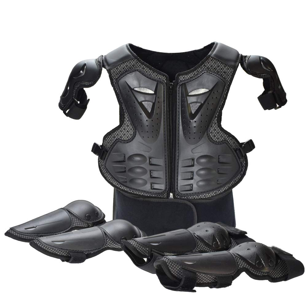 Reomoto Kids Dirt Bike Body Chest Spine Protector Knee Elbow Pads Vest Protective for Dirtbike Motocross Skiing Snowboarding