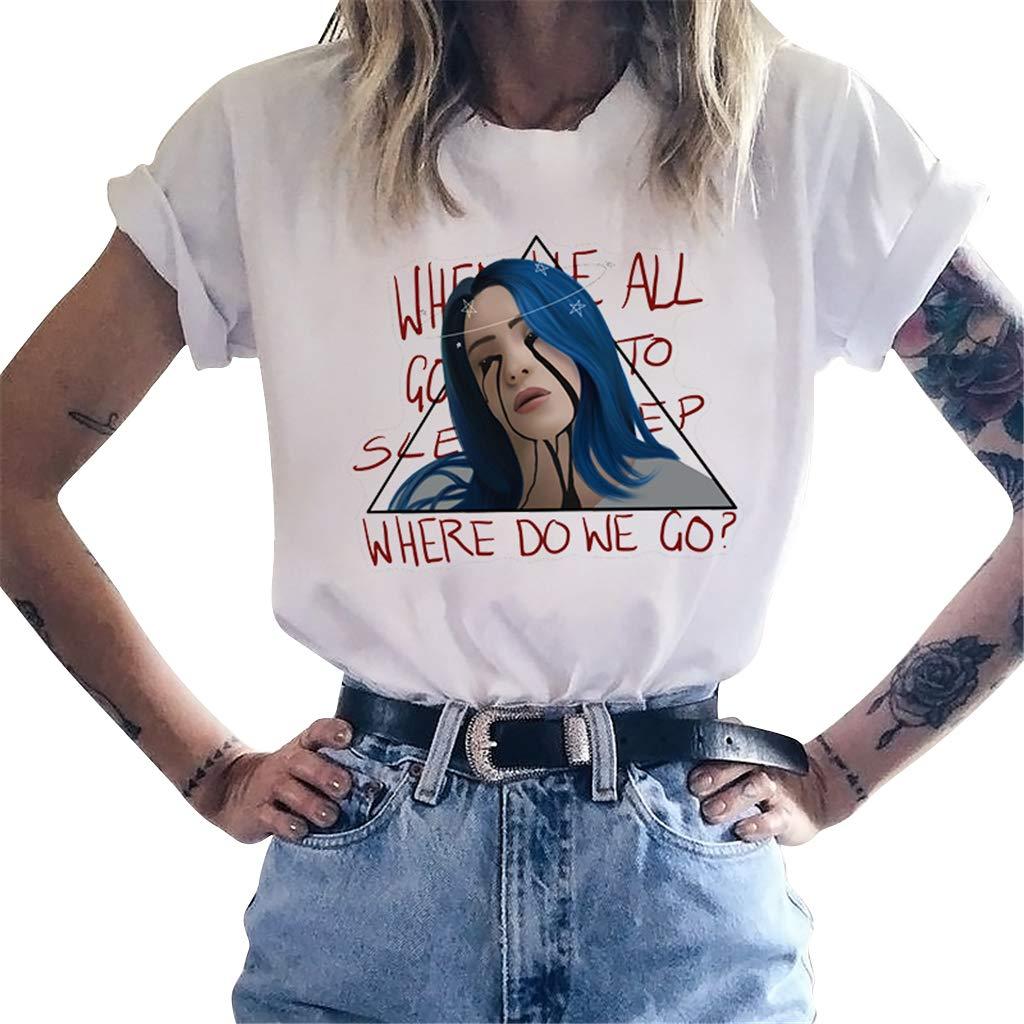 Hip Hop Trend Singer per Billie Eilish T-Shirt per Donna,Billie Eilish Stampa Lettere Maglietta T-Shirt Top Maniche Corte per Donna Ragazza Teen
