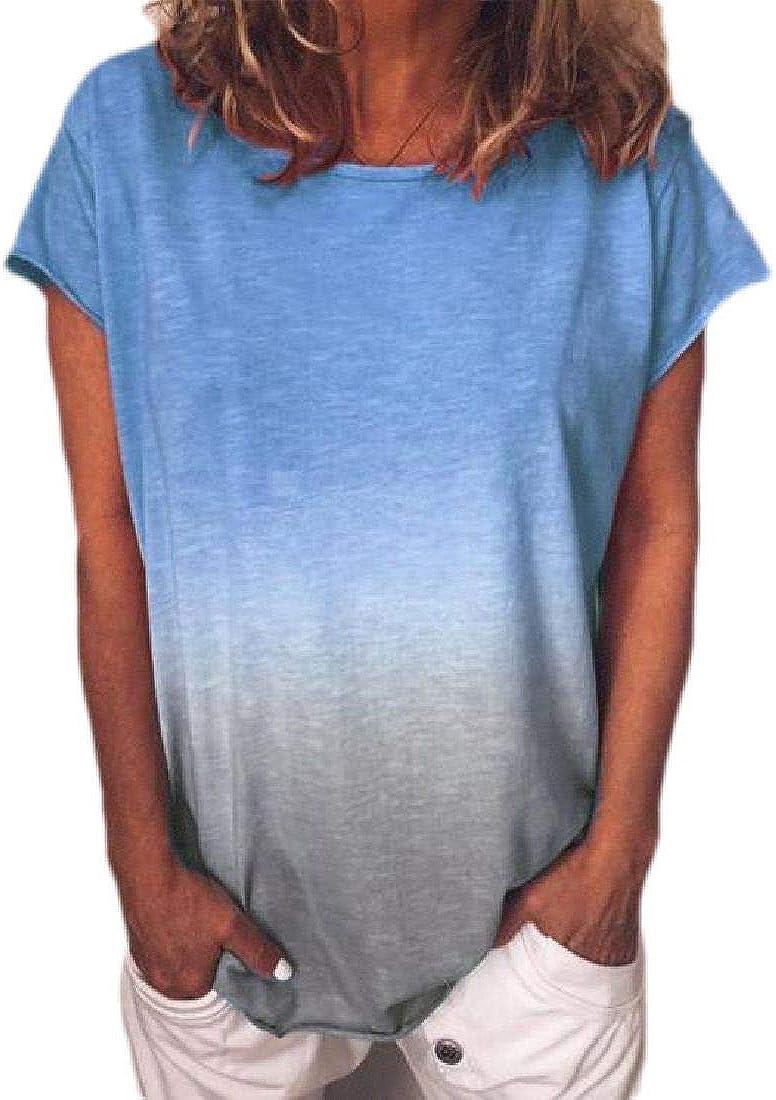 Abeaicoc Women Blouse T-Shirt Rainbow Print Crew Neck Fashion Short Sleeve Tops