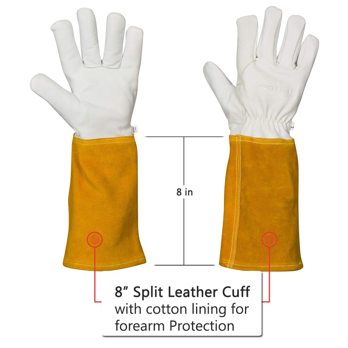 Welding Gloves for Women, Small Mens, Fireproof Heat Resistant, Top Grain Cowhide Kevlar Lined Hand Weld (Small) by Suse's Kinder (Image #5)
