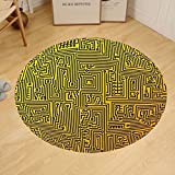 Gzhihine Custom round floor mat Digital Computer Hardware Circuit Board High Tech Futuristic Web Abstract Bedroom Living Room Dorm Marigold Black