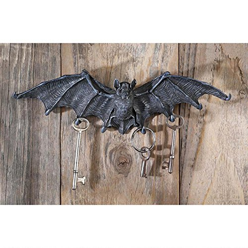 Key Hook Rack - Vampire Bat Key Holder Wall Sculpture - Bat Figure - Halloween Bats