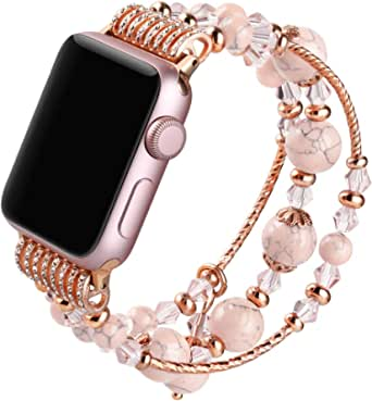 Suppeak Band Compatible with Apple Watch 42mm 44mm, Women Girl Elastic Handmade Pearl Bracelet Replacement for 42 44mm Series SE 6 5 4 3 2