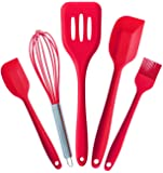 StarPack Premium Silicone Kitchen Utensils Set (5 Piece) in Hygienic Solid Coating - Bonus 101 Cooking Tips (Cherry Red)