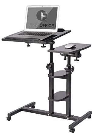 Superieur EaseOffice Angleu0026Height Adjustable Mobile Laptop Desk Cart Office Desk  Overbed Hospital Table Stand, Black