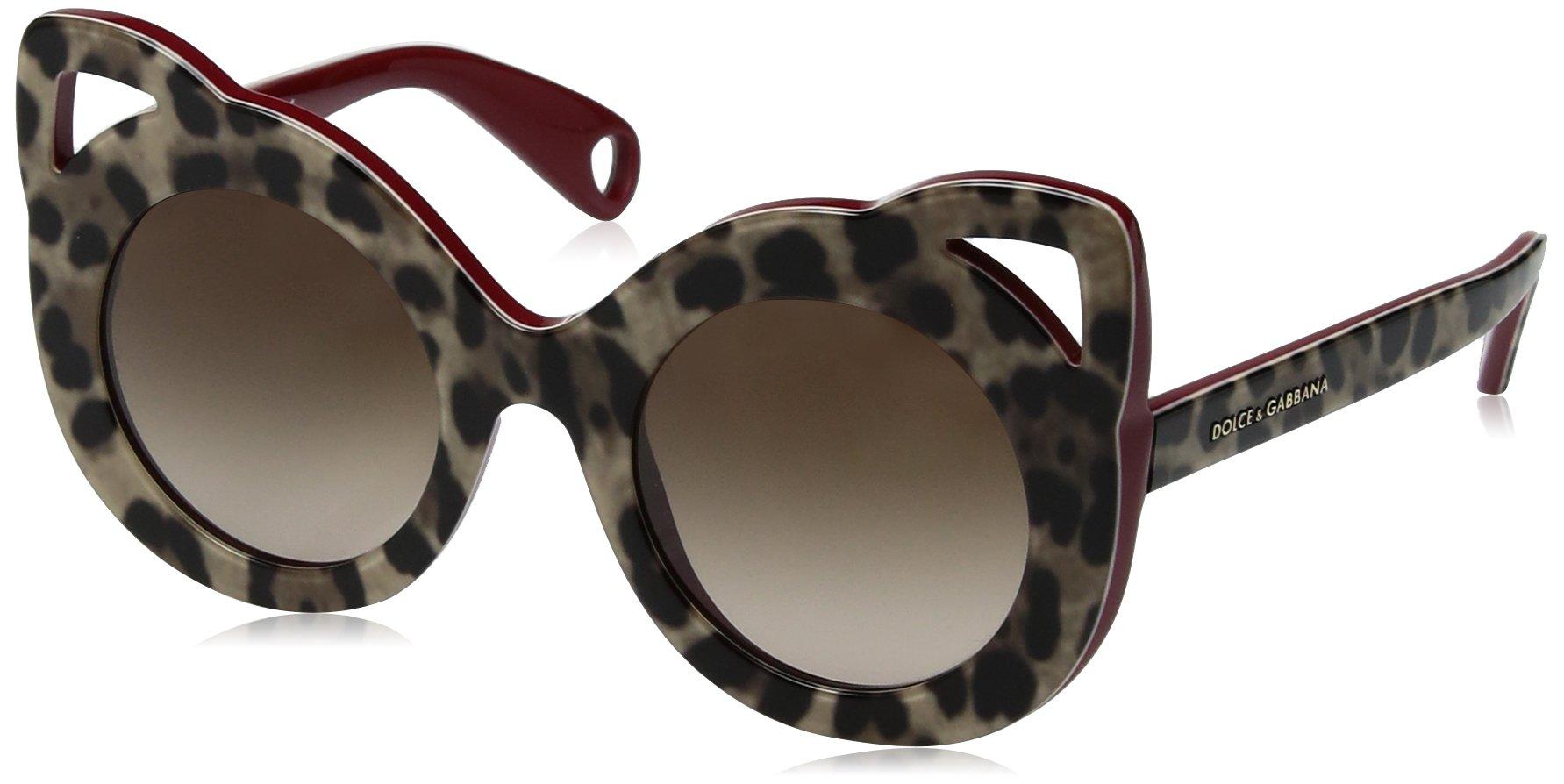 Dolce & Gabbana Women's Acetate Woman Round Sunglasses, Top Leo on Bordeaux, 43 mm