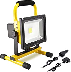 Dersoy 50W 4000LM LED Work Lights Rechargeable, Battery Work Lights, Portable Flood Light IP65 Waterproof Emergency Light, with Stand for Outdoor Lighting/Hunting/Camping/Hiking/Car Repairing