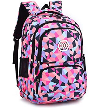 Geometric Backpack Primary School Book Bag for Girls Boys 8-12 Years ... edb582672988