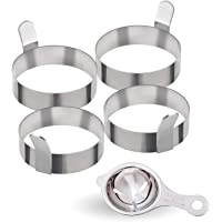 All Prime Stainless Steel Egg Rings 4 Pack - Includes Free Egg Separator ($7 Value)- Stainless Steel Egg Shaper – Non-Stick Cooking Rings – Four Pack of 3-inch Egg Rings – Egg Rings for Frying Eggs