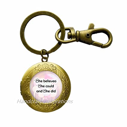 Believe in Yourself Locket Keychain She Believed she Could Inspirational  Gift Empowered Womens Locket Keychain Feminism faab36180