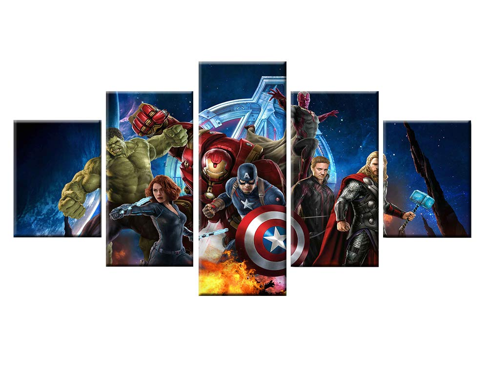 Pangoo Art 5 Piece Frameless Printed Miracle Avenger Super Hero Movie Poster Prints Canvas Pictures Paintings on Canvas Wall Art for Home Decor Unframed Poster