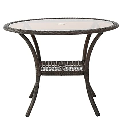 Jeco W00205D-C Wicker Round Dining Table Honey 44