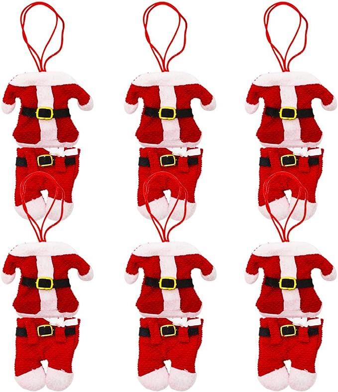 BESTZY 12pcs Cubiertos Tenedores Bolsa Cocina Traje Cubiertos Cuchillos Bolsas para Decoración Navidad (Traje de Santa Claus)