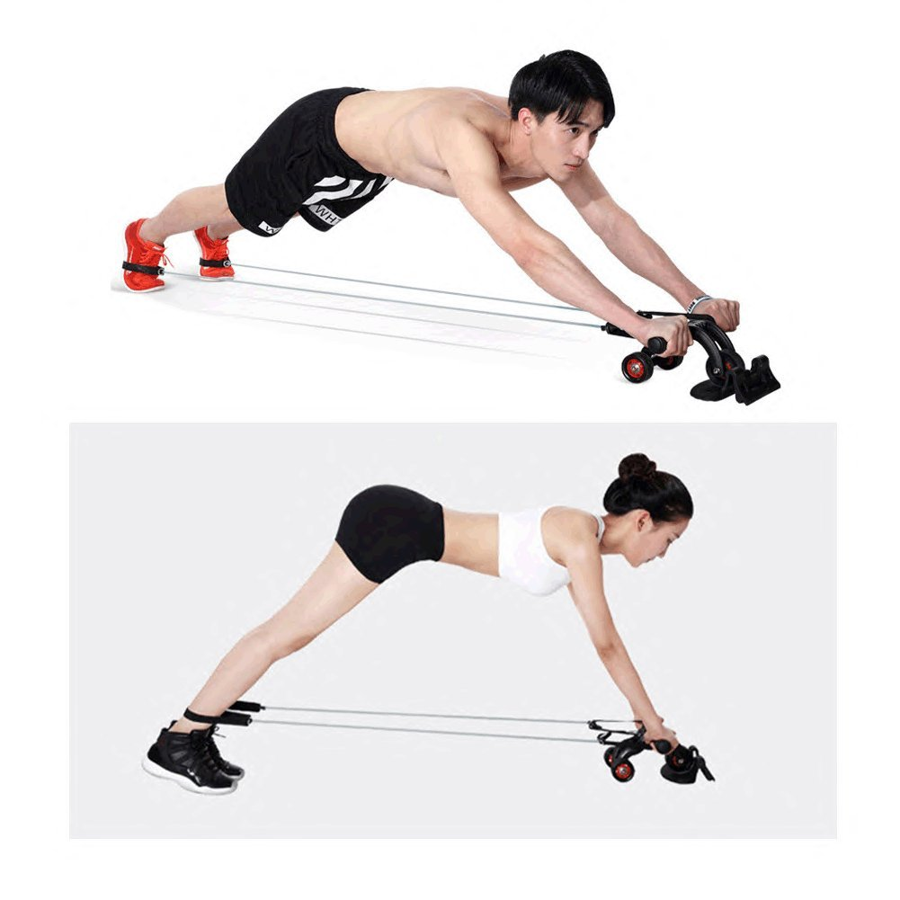 Nutrilite Abdomen Round Abs Wheel Push-ups Wheel Use Exercise Equipment at Home/Pull The Rope Tension Band (Single wheel+2Tension band) by SKYYU (Image #5)