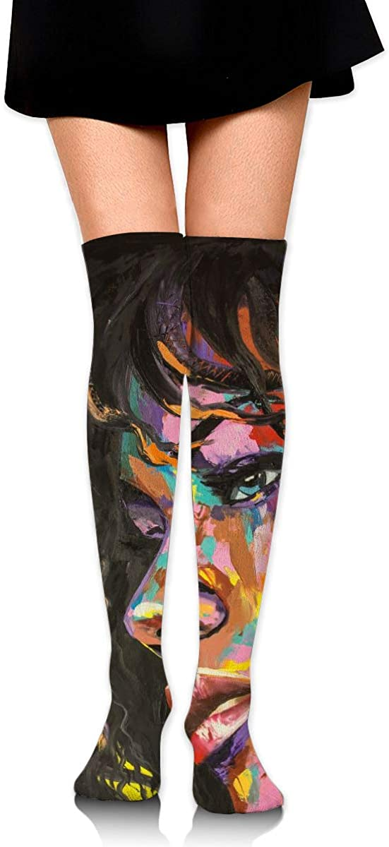Women Crew Socks Thigh High Knee Watercolor Beautiful Woman Long Tube Dress Legging Athletic Compression Stocking