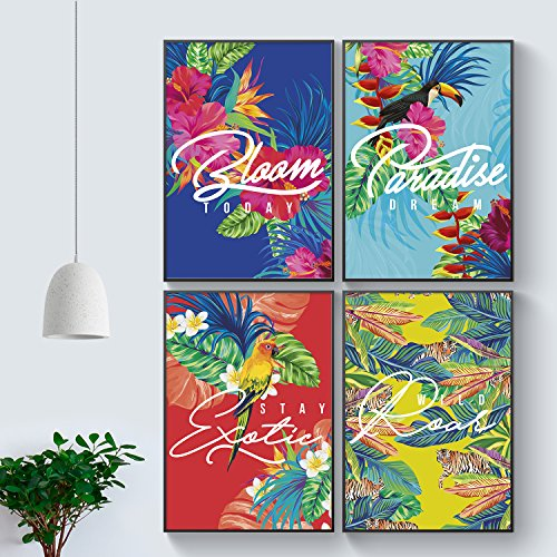 Spring 2018 Inspiring Floral Print Bridal Motivational Quotes for Wedding Gift. Set of FOUR Season Inspirational Fashion Wall Art Birthday Gifts. Ready to Hang Trendy Friendship Shareable - Floral Versace